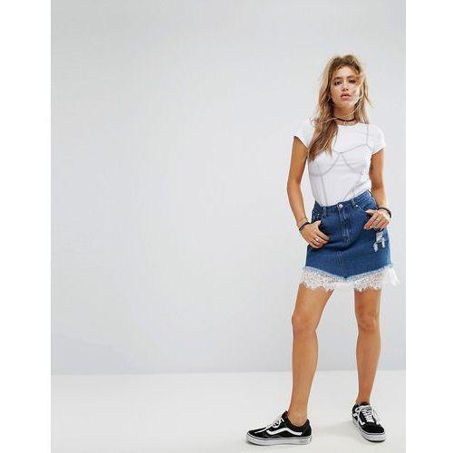 denim mini skirt with lace hem - blue, Boohoo