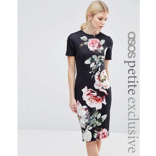 ASOS PETITE T-Shirt Bodycon Dress with Photographic Floral Placement Print - Black, kolor czarny