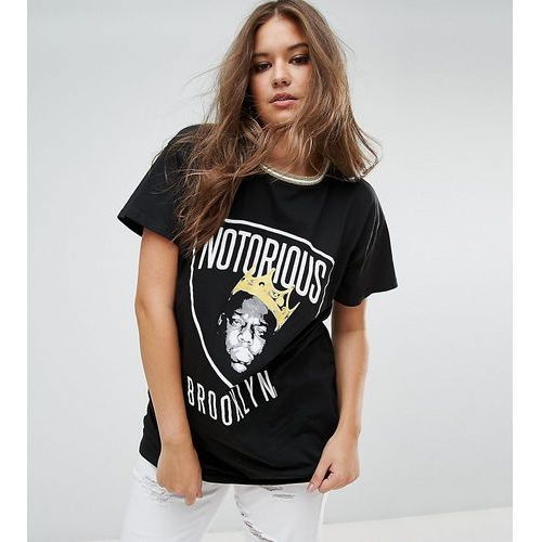 t-shirt in super oversized fit with notorious b.i.g print and tipping - black, Asos curve