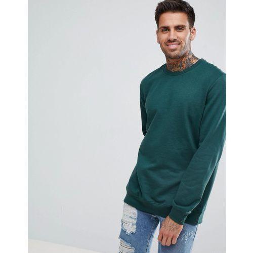 Bershka Sweatshirt With Stretch Waist And Cuffs In Bottle Green - Yellow