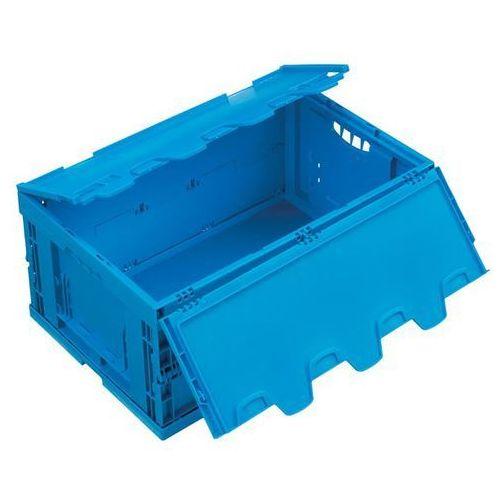 Walther faltsysteme Pojemnik składany z polipropylenu, poj. 49 l, z pokrywą na zawiasach, niebieski.
