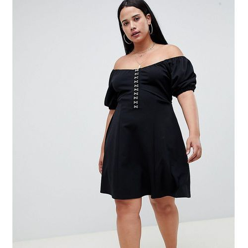 Asos design curve mini skater dress with hook and eye detail - black, Asos curve