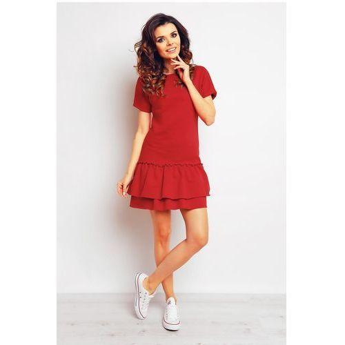 Czerwona sportowa sukienka mini z falbaną marki Infinite you