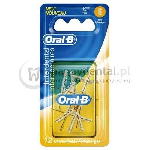ORAL-B zInterdental Refills 12szt. - końcówki do szczoteczki międzyzębowej o cylindrycznym kształcie (żółte) - DWA RAZY WIĘKSZE OPAKOWANIE