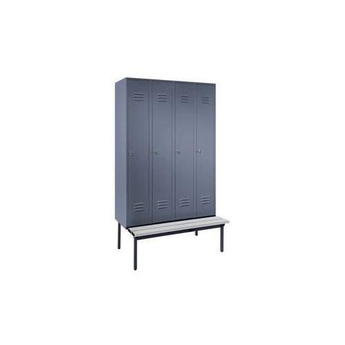 Szafka na ubrania z ławeczką u dołu,pełne drzwi, szer. przedziału 300 mm, 4 przedziały