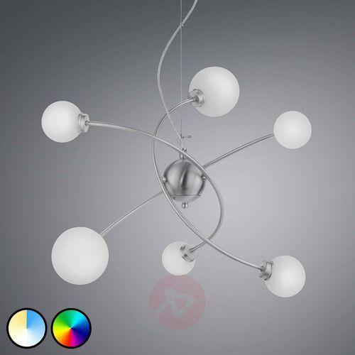 leuchten dicapo lampa wisząca led nikiel matowy, 6-punktowe, zdalne sterowanie, zmieniacz kolorów - nowoczesny - obszar wewnętrzny - dicapo - czas dostawy: od 3-6 dni roboczych marki Trio