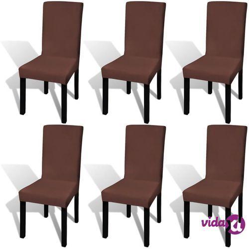 Vidaxl elastyczne pokrowce na krzesła, 6 szt., brązowe (8718475978770)