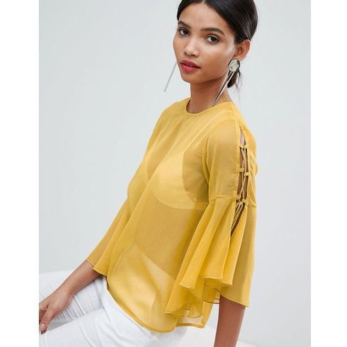 chiffon tie sleeve blouse - yellow, Y.a.s, 34-42