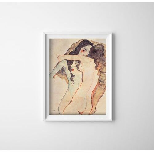 Plakat do pokoju plakat do pokoju dwie kobiety obejmują egona schiele marki Vintageposteria.pl