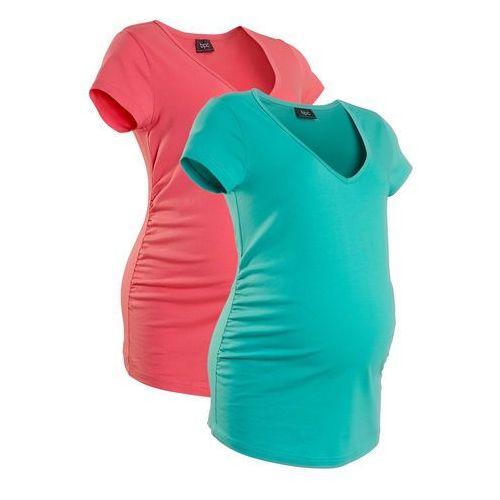 Shirt ciążowy (2 szt.), krótki rękaw bonprix jasnoróżowy + zielony oceaniczny