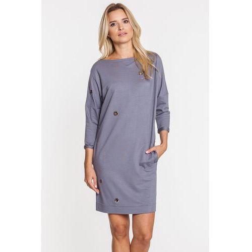 Szara sukienka z dziurkami - Anataka