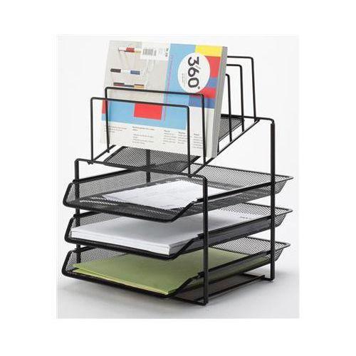 Q-connect Zestaw na biurko office set, metalowy, z sorterem dokumentów, 3 szufladki, czarny