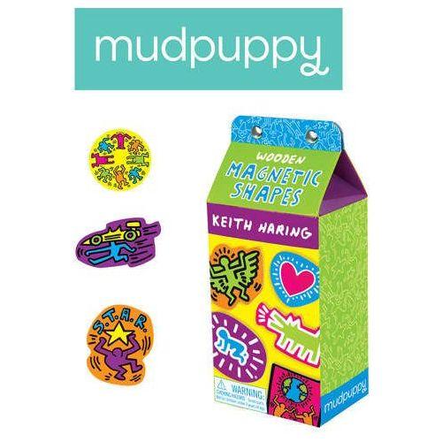 Mudpuppy  - zestaw drewnianych magnesów - keith haring 35 elementów