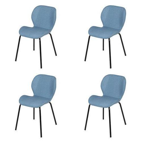 Zestaw 4 krzeseł w kolorze jasnoniebieskim ze stalowymi nogami - posa marki Qazqa