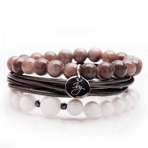 Staviori Zestaw trzech bransoletka srebrna z naturalnymi kamieniami