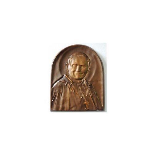Art deco Święty papież jan paweł ii, płaskorzeźba w skórze na prezent - pd-2