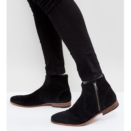 chelsea boots in black suede with zip detail and natural sole - black marki Asos design