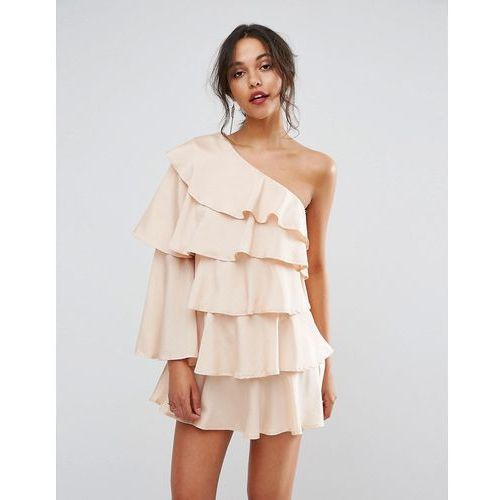 one shoulder ruffle mini dress - beige, Boohoo