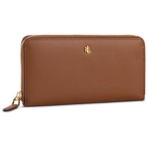 Duży portfel damski - zip cont wlt 432754176002 brown/black marki Lauren ralph lauren