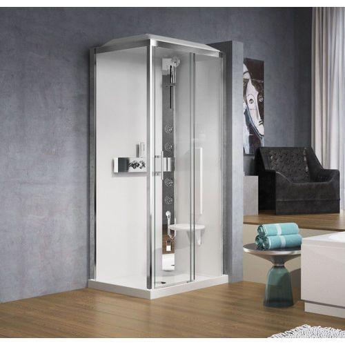 Novellini Glax 2P120x80 kabina z sauną parową, drzwi 120cm+ścianka boczna 80cm, profil srebrny, prawa GL32P12XD1N-1B