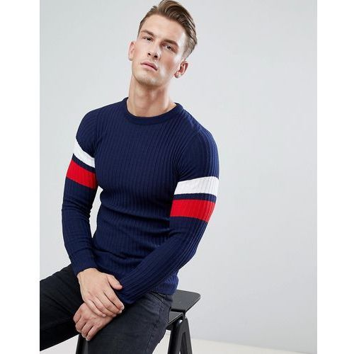 muscle fit ribbed jumper with arm stripe in navy - navy marki Boohooman