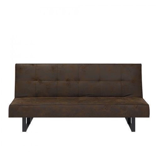 Sofa z funkcją spania imitacja skóry brązowa 189 cm Lilla BLmeble, kolor brązowy