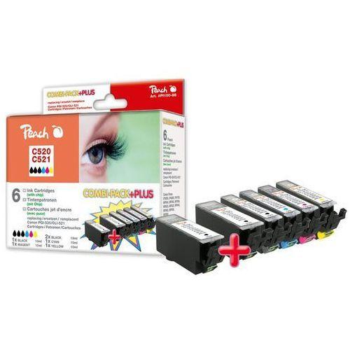 Peach Combi Pack Plus z chipem, duża wydajność, kompatybilny z CLI-521, 2xPGI-520