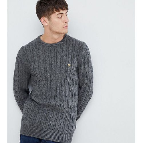 ludwig cable crew neck jumper in dark grey exclusive at asos - grey, Farah