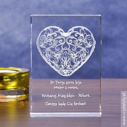 Koronkowe Serce 3D z Twoją dedykacją ♥ średnia statuetka 3D • GRAWER 3D