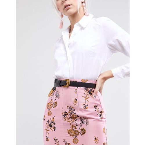 ASOS Long Tipped Western Waist and Hip Belt with Old Gold Fittings - Black