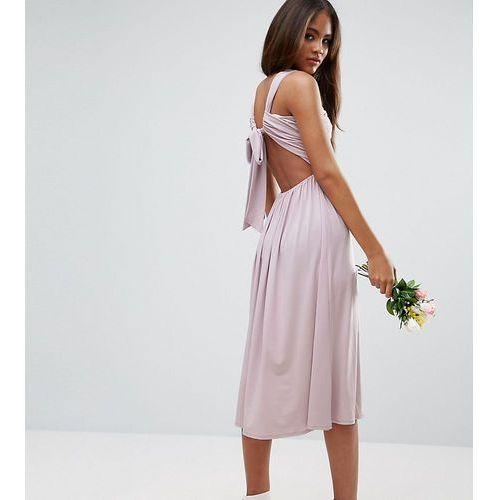 ASOS TALL Wedding V Front Ruched Midi Dress - Purple
