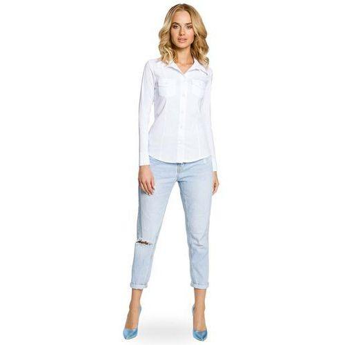 Biała Klasyczna Taliowana Koszula z Długim Rękawem, kolor biały