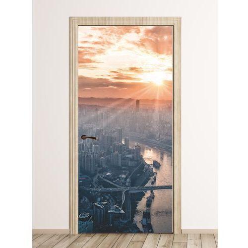 Fototapeta naklejka na drzwi miasto z lotu ptaka fp 5672 marki Wally - piękno dekoracji