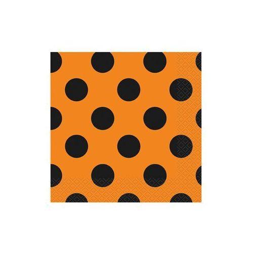 Serwetki pomarańczowe w czarne kropki - 33 cm - 16 szt.
