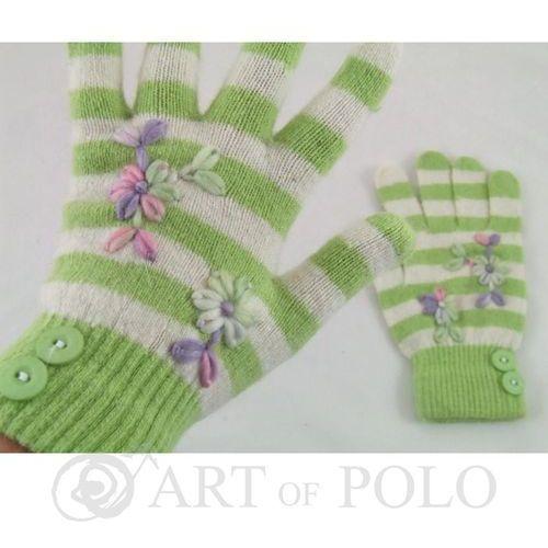 Evangarda Zielono-białe rękawiczki damskie z haftowanymi kwiatkami i guziczkami - zielony   biały