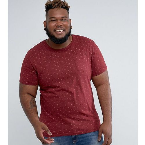 plus geo print t-shirt with pocket - red marki D-struct