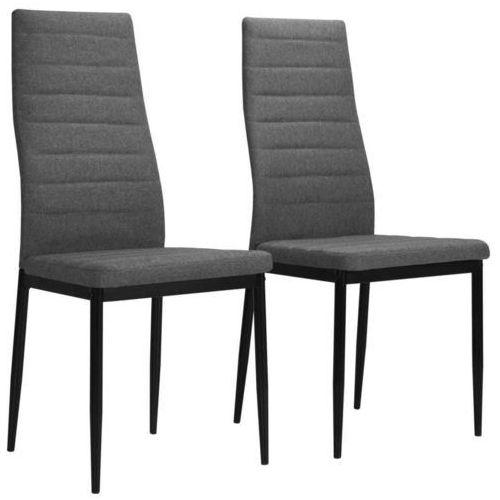 Vidaxl Krzesła do jadalni tapicerowane tkaniną, 2 szt., jasnoszare