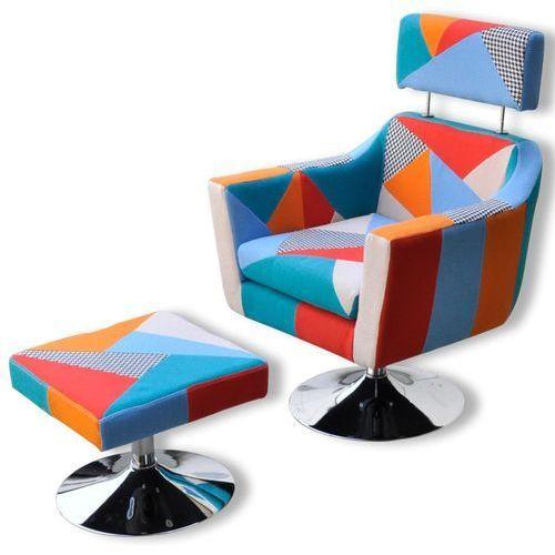 Vidaxl patchworkowy fotel do oglądania tv z podnóżkiem (8718475876700)