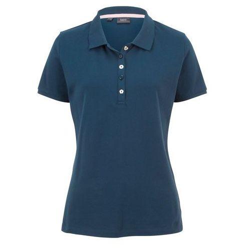 Shirt polo z bawełny pique bonprix ciemnoniebieski, bawełna