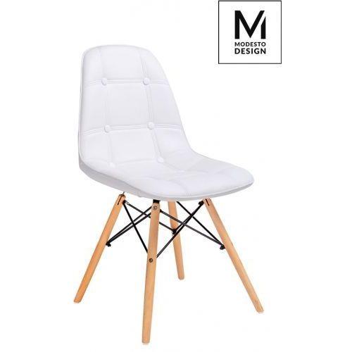 MODESTO krzesło EKOS WOOD białe - ekoskóra, podstawa bukowa, kolor biały