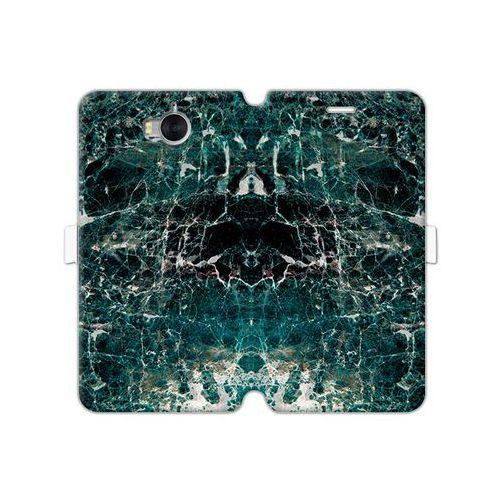 Huawei y5 (2017) - etui na telefon wallet book fantastic - zielony marmur marki Etuo wallet book fantastic
