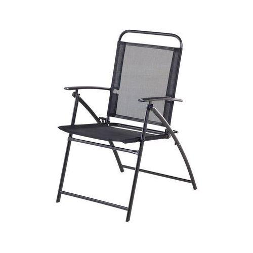 Beliani Krzesło ogrodowe czarne aluminiowe składane livo