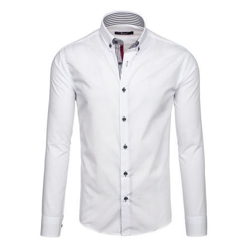 Bolf Biała koszula męska elegancka z długim rękawem Bolf 6943 - BIAŁY, biała