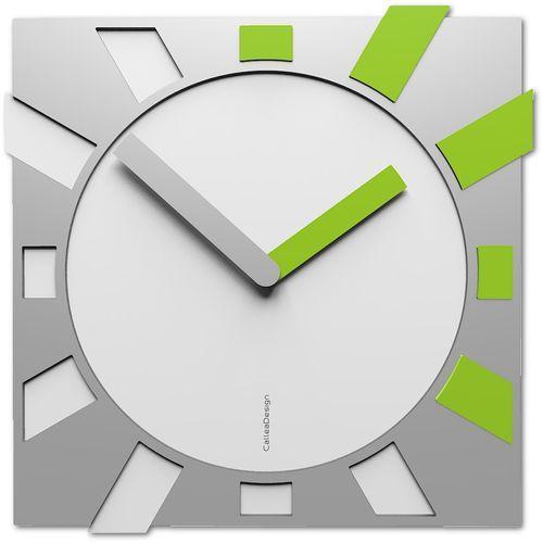 Calleadesign Prosty zegar ścienny do salonu jap-o biały / jabłkowy (10-023-76)