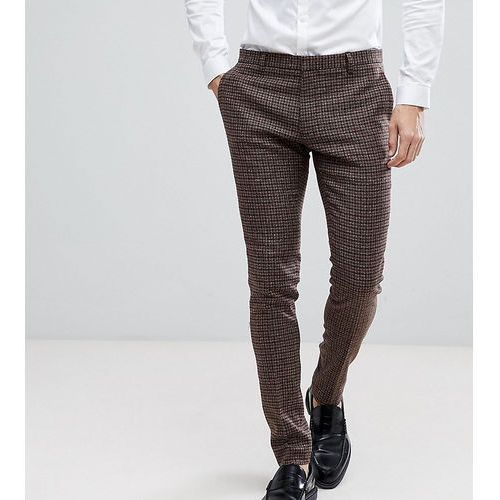 Heart & dagger super skinny suit trousers in dogstooth fleck - brown