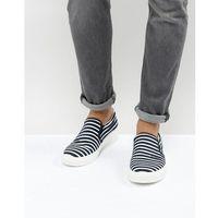 Armani jeans stripe slip on plimsolls in navy - navy