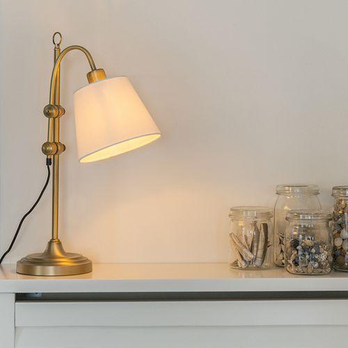 Klasyczna lampa stołowa z brązu z białym kloszem - Ashley