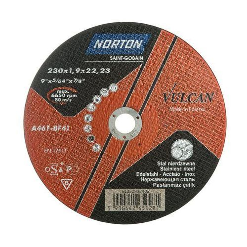 Norton vulcan Tarcza do cięcia t41 230 x 1.9 x 22.23 inox (5900442650281)