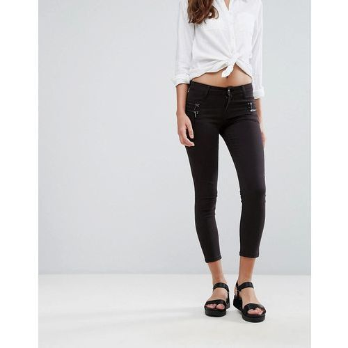 Mango cropped jeans with zip details - blue