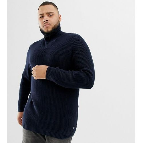 Tom Tailor Plus knitted funnel neck chunky jumper in navy - Navy